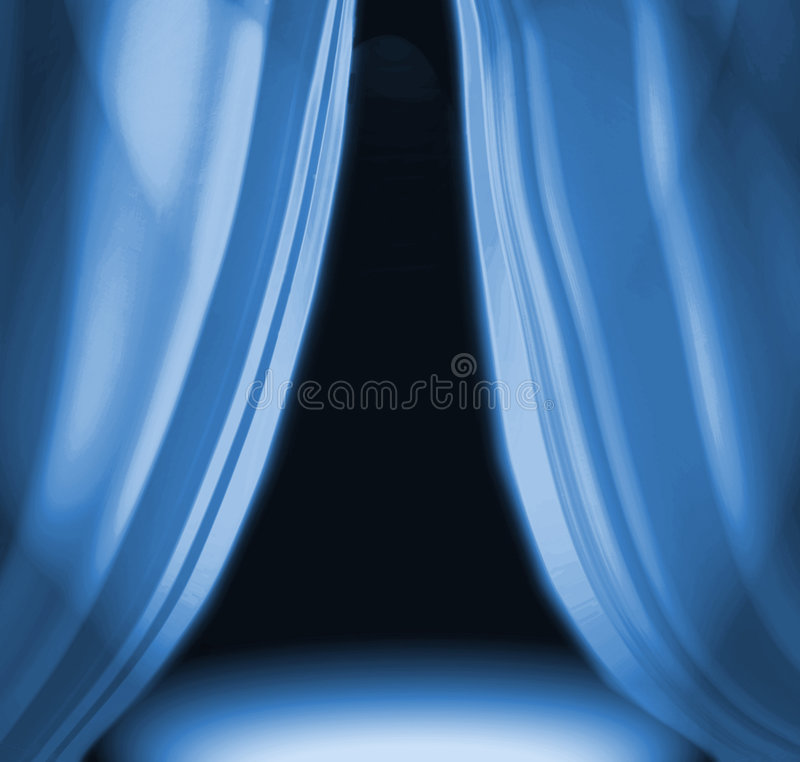 Blue Drapes On Empty Stage. Blue theater drapes parted on empty dramatic stage with room for copy royalty free illustration