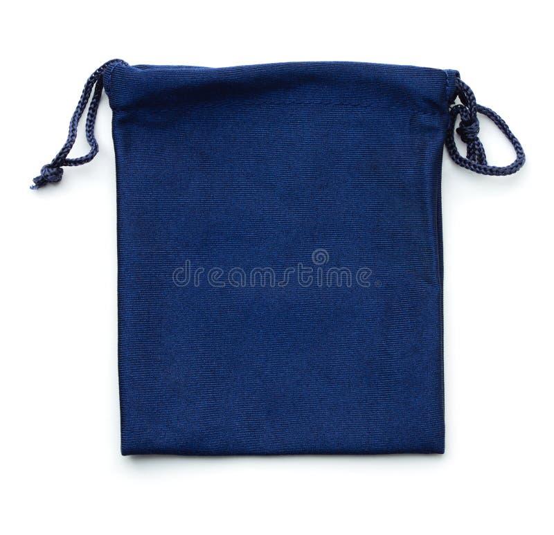 Blue drawstring gift bag stock photos