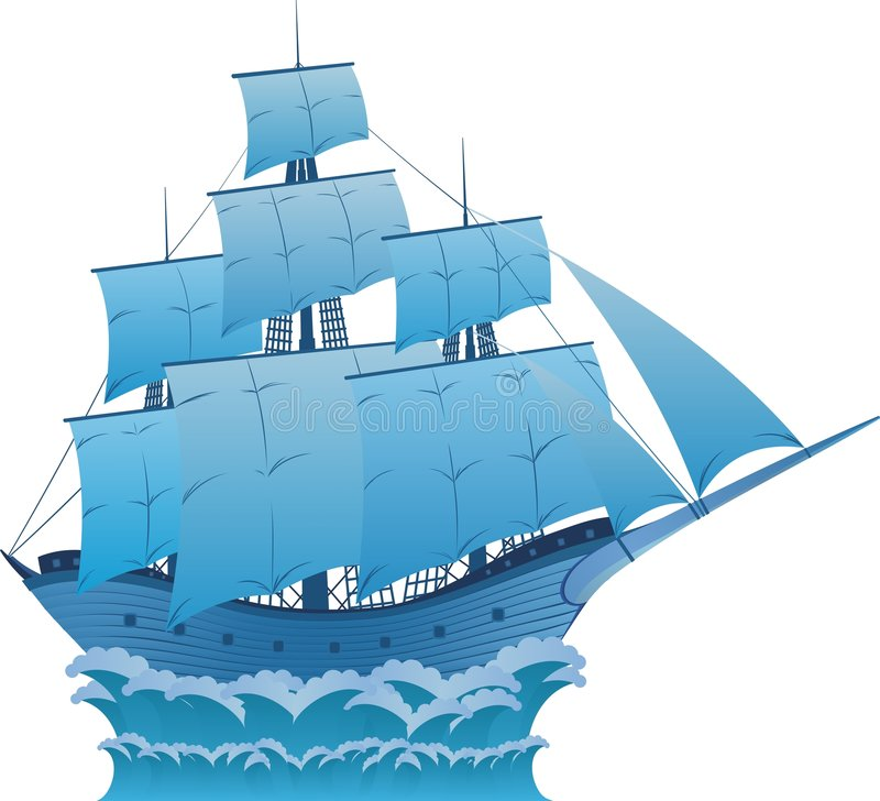 Blue dream. Ancient wooden blue sailboat on white background can use as logo royalty free illustration