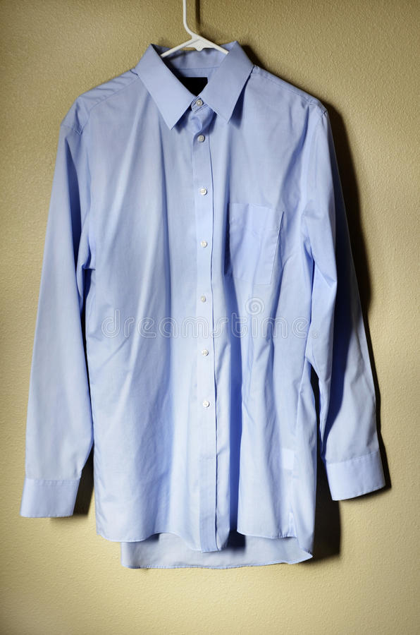 Download Blue Dress Shirt on Hanger stock image. Image of button - 39511031