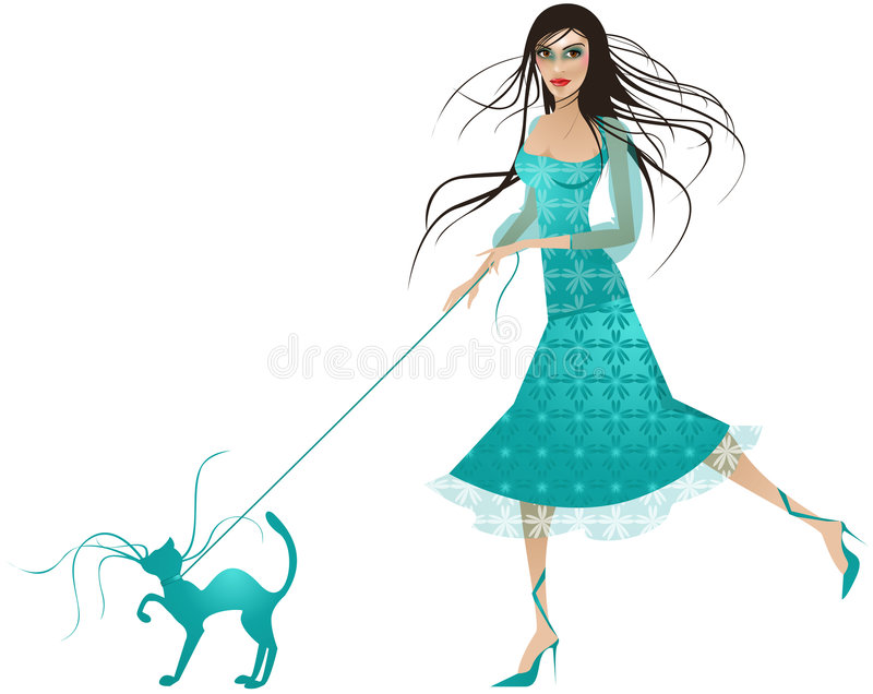 Blue dressed Lady with blue cat royalty free stock photos