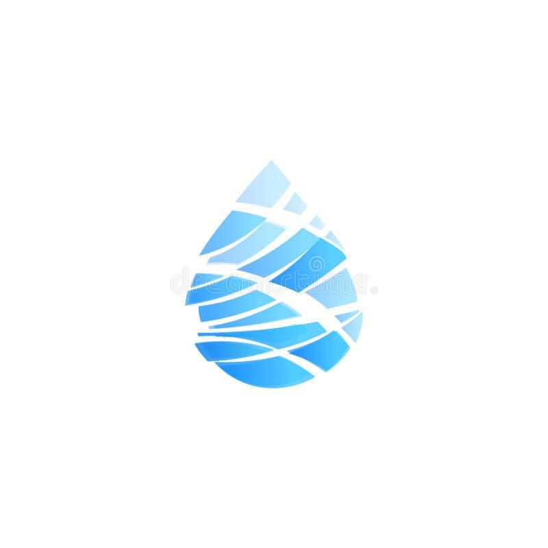 Blue drop cut into pieces, ocean storm, wave, abstract water symbol, logo template, liquid emblem, vectors. royalty free illustration