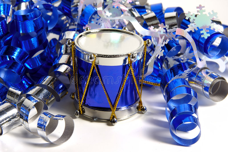 Blue Drum. Photo of a Blue Drum and Tinsel Ribbon royalty free stock images