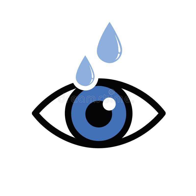 Blue dry eye with drops icon. Vector illustration vector illustration