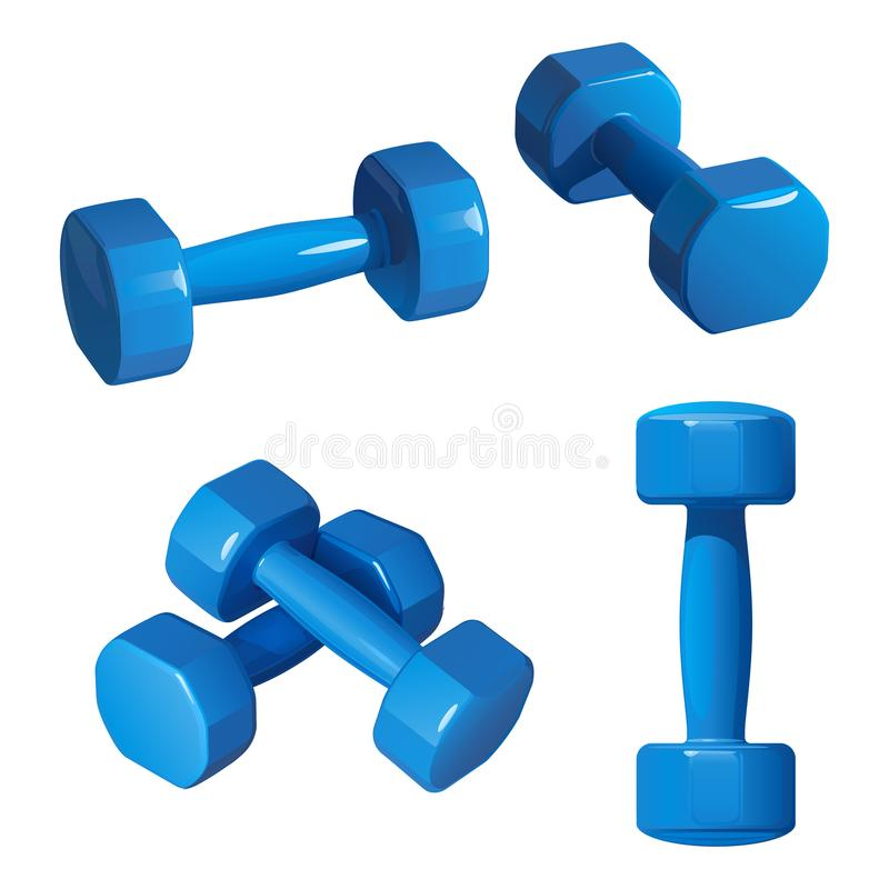 Blue dumbbells for fitness, in different positions. On a white background stock illustration