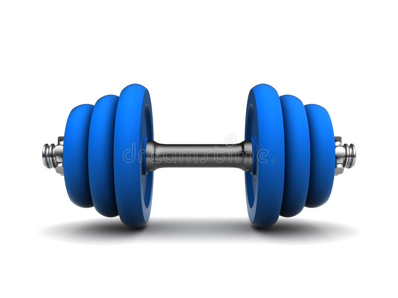 Blue dumbell royalty free illustration