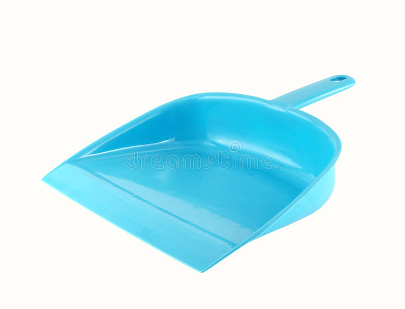 Close-up blue dust pan isolated on white background. Blue dust pan isolated on white background, cleaning tool works with brush or broom for clean up stock photo