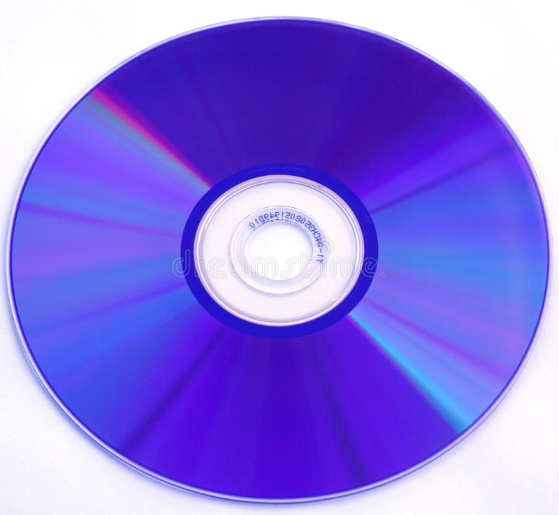 Blue DVD Rom or CD Rom. A Blue DVD Rom on a white background. Perfect to integrate into your own design stock image