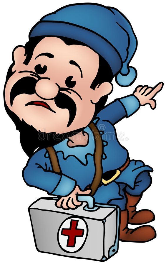 Blue Dwarf - Elf Doctor stock illustration