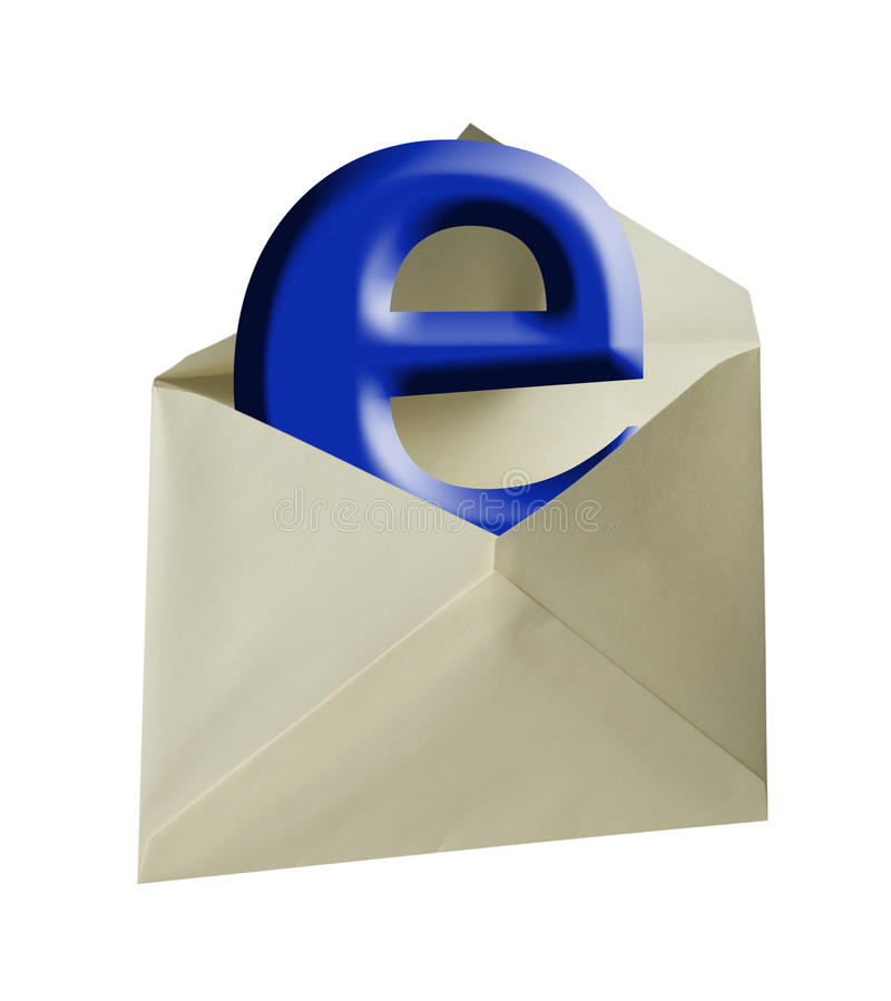 Blue e-mail letter,isolated. Blue e letter coming out of envelope with clipping path stock images