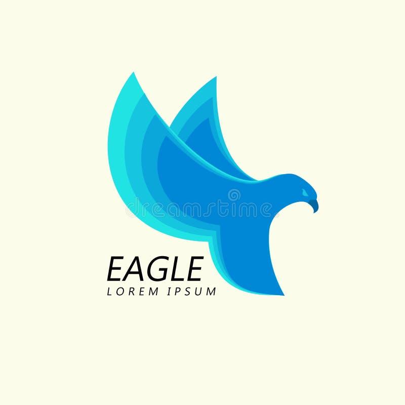 Blue Eagle attacking flight, trendy minimalistic template design for logos, emblems, symbols. vector illustration
