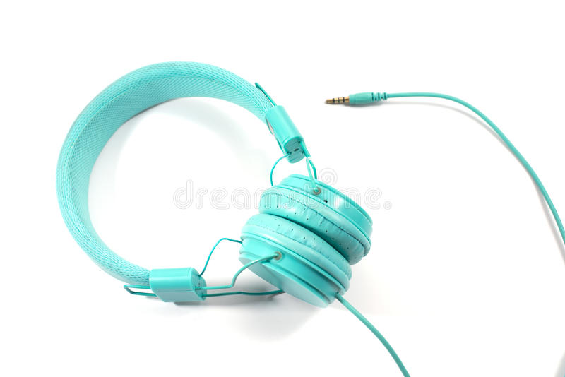 Blue earphone. Blue stylish earphone isolated over white stock photography