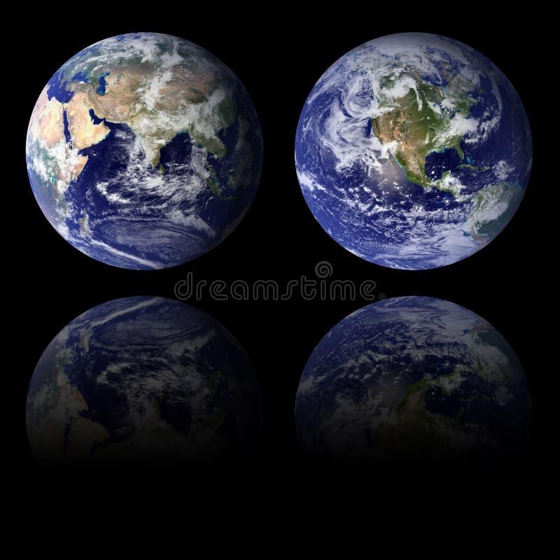 Blue Earth Eastern and Western Hemispheres royalty free stock image
