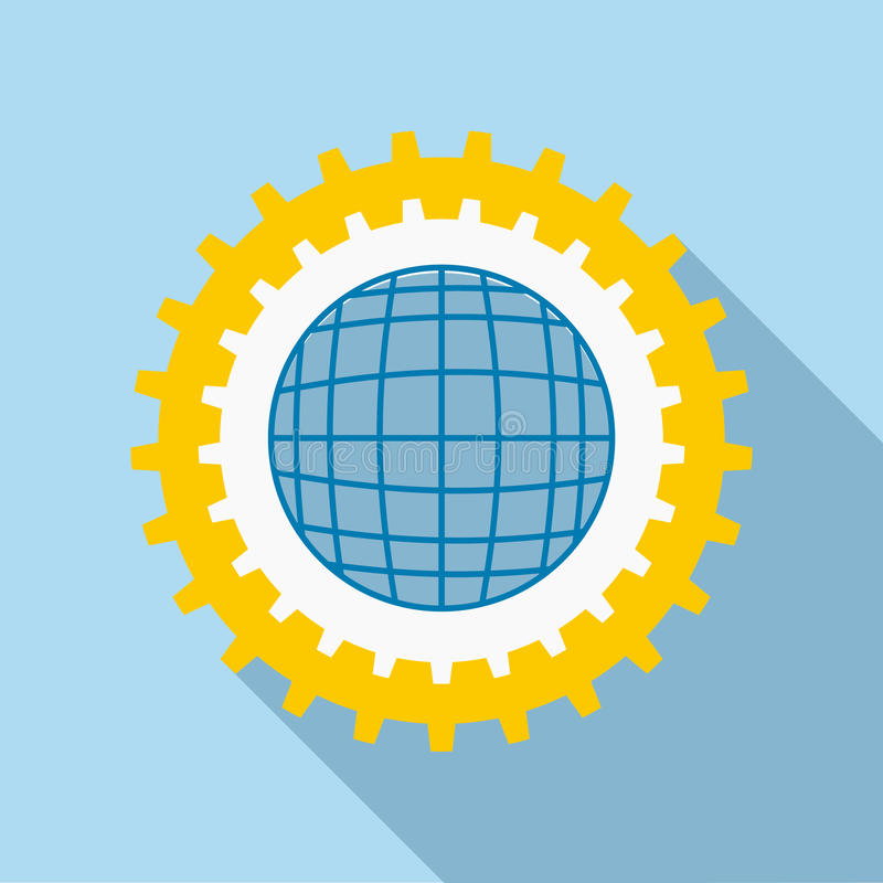 Blue earth globe inside big gear icon, flat style stock illustration