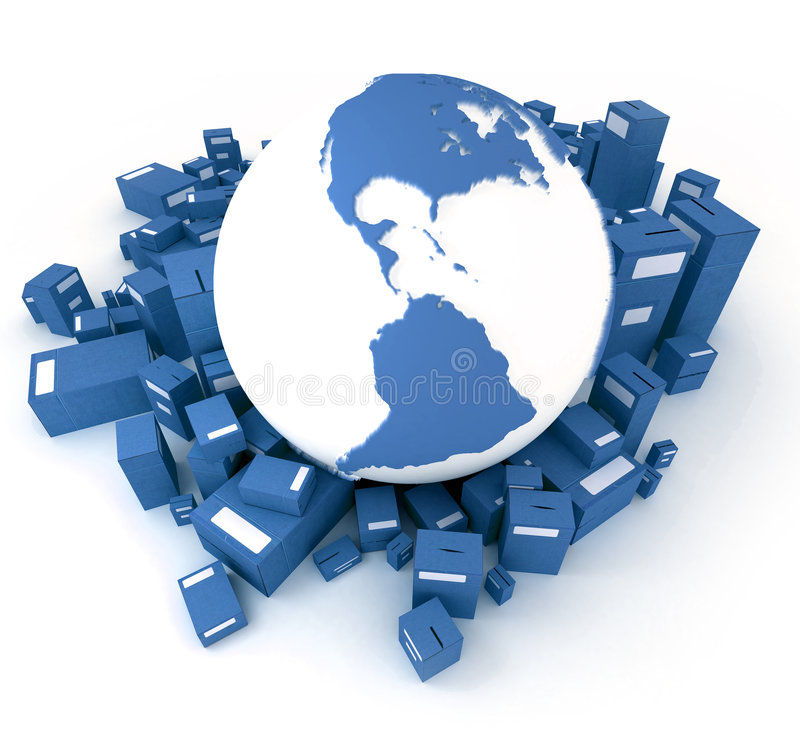 Blue Earth globe packages royalty free illustration