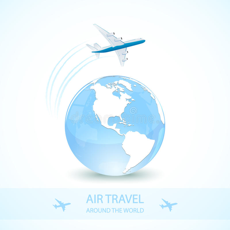 Blue earth globe with plane royalty free illustration