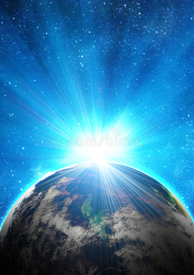 Download Blue earth in space stock image. Image of earth, rising - 22518703
