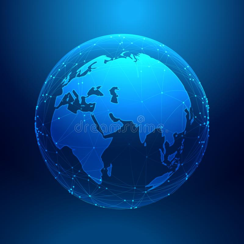 Blue earth on wireframe network mesh, digital technology background royalty free illustration
