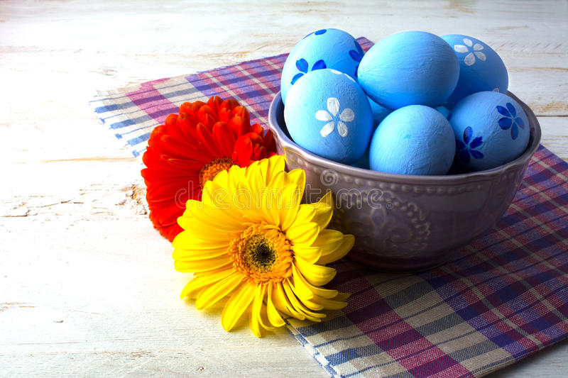 Blue Easter decorated eggs royalty free stock images
