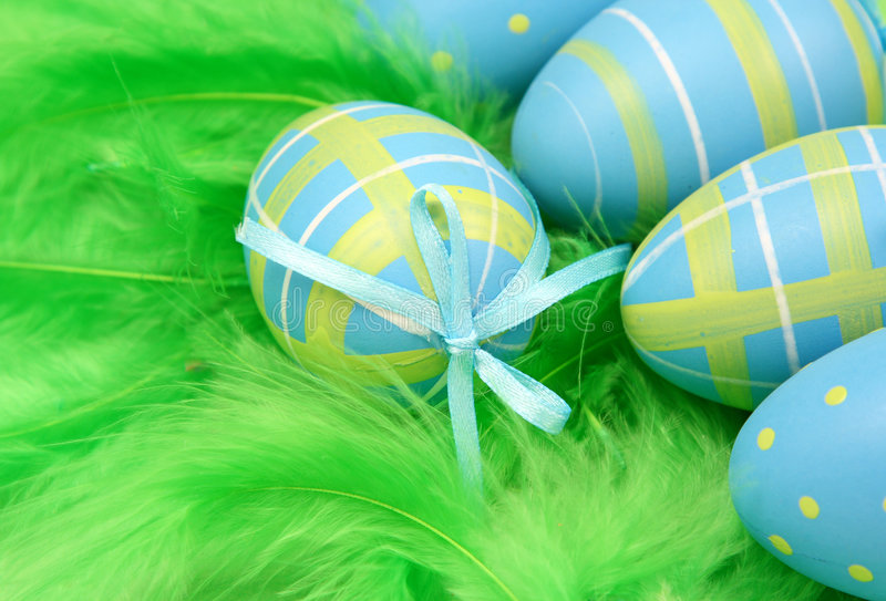 Blue easter eggs royalty free stock photo