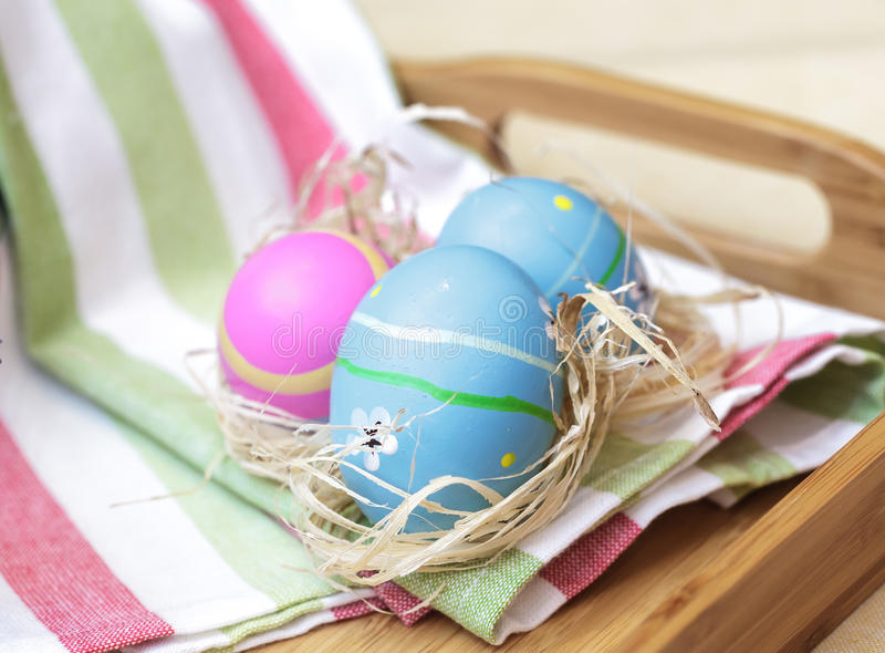 Blue easter eggs close royalty free stock images