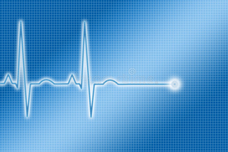 Blue ECG Trace. Illustration of an ECG or EKG trace stock illustration