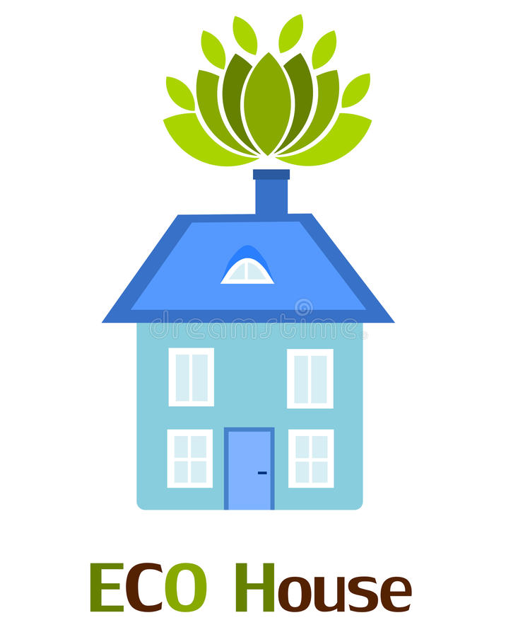 Blue eco house. Blue eco friendly house over white vector illustration
