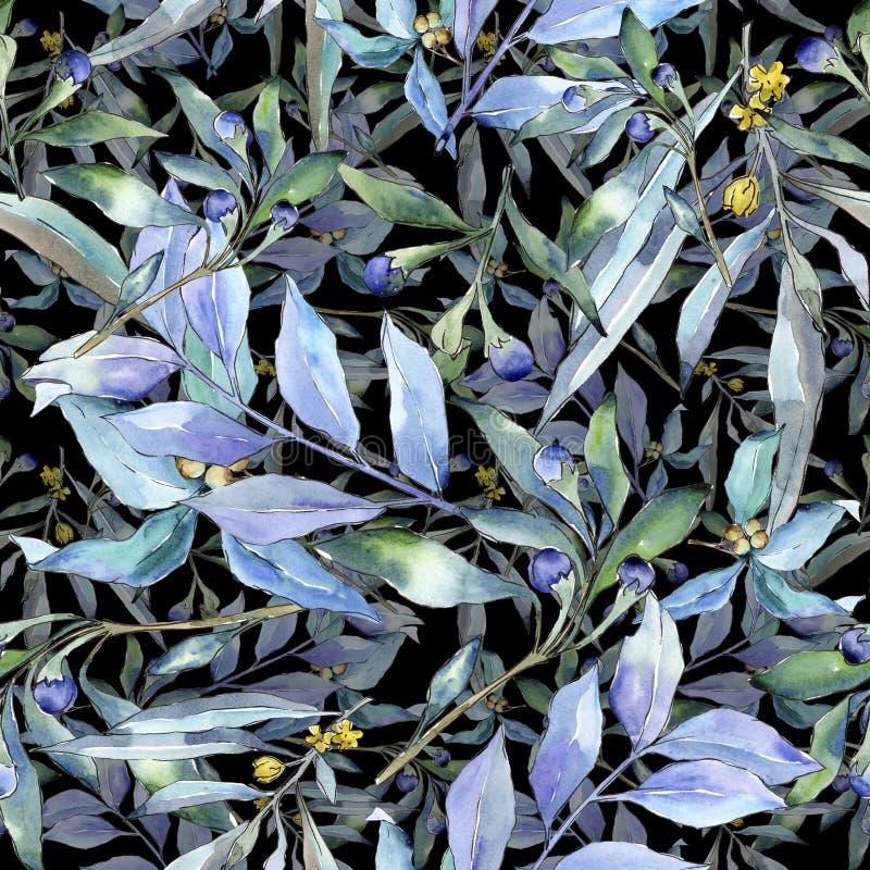 Blue elaeagnus leaf. Leaf plant botanical garden floral foliage. Seamless background pattern. Blue elaeagnus leaves in a watercolor style. Seamless background stock image