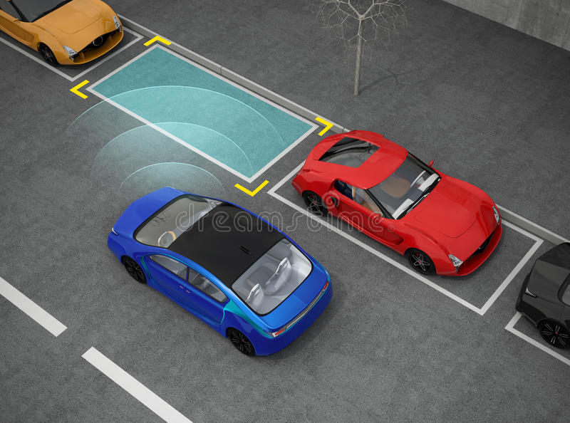 Blue electric car driving into parking lot with parking assist system vector illustration
