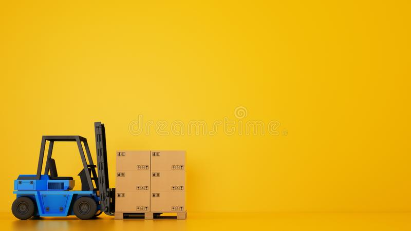 Electric blue forklift loads a wooden pallet with boxes on yellow background royalty free stock photos