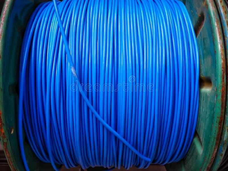 Blue electric  wires at market for  sale stock photo