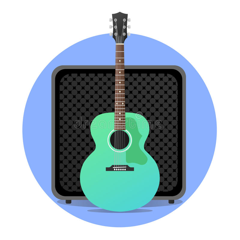 Blue electro acoustic guitar with amp royalty free stock images
