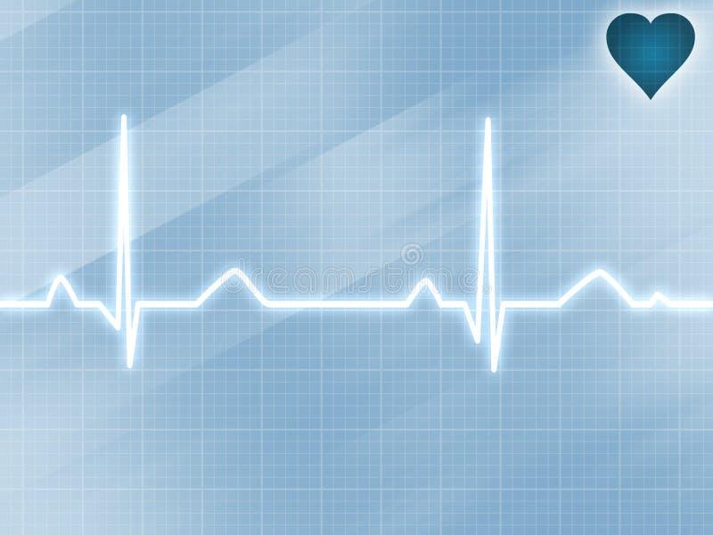 Blue electrocardiogram track vector illustration