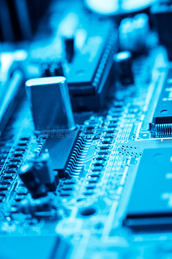 Blue electronic circuit stock images