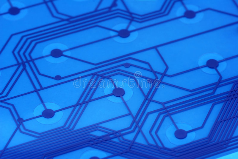 Blue Electronic Circuit Board - 2 royalty free stock photography