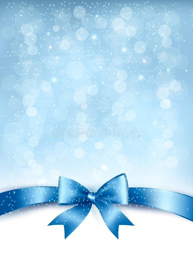Blue elegant holiday background with gift bow and ribbon. stock illustration