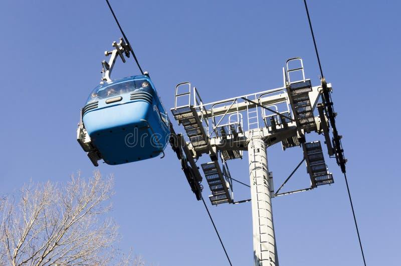 Blue elevator ski cabin in Bansko ski center in Bulgaria. Blue elevator ski cabin in Bansko ski center - Bulgaria royalty free stock photos
