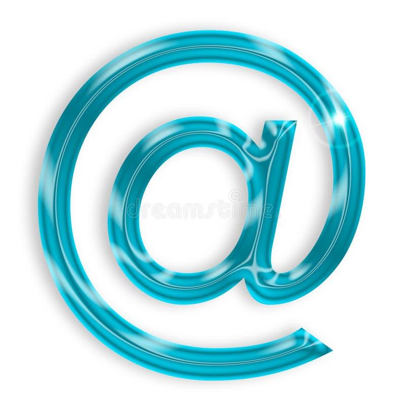 Blue email sign. Isolated on white background stock illustration