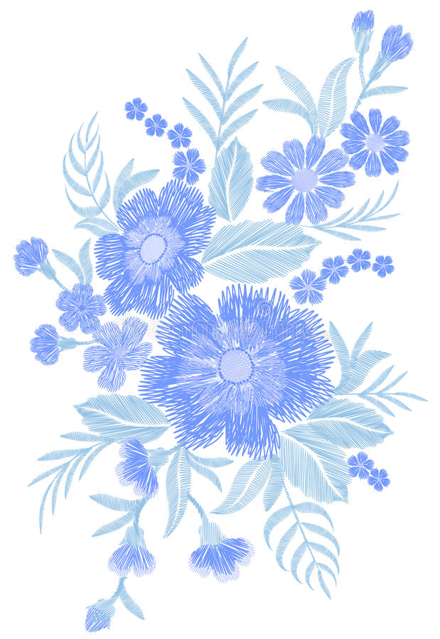 Blue embroidered flower bouquet field fashion patch fabric ornament traditional ethnic vintage embroidery vector vector illustration