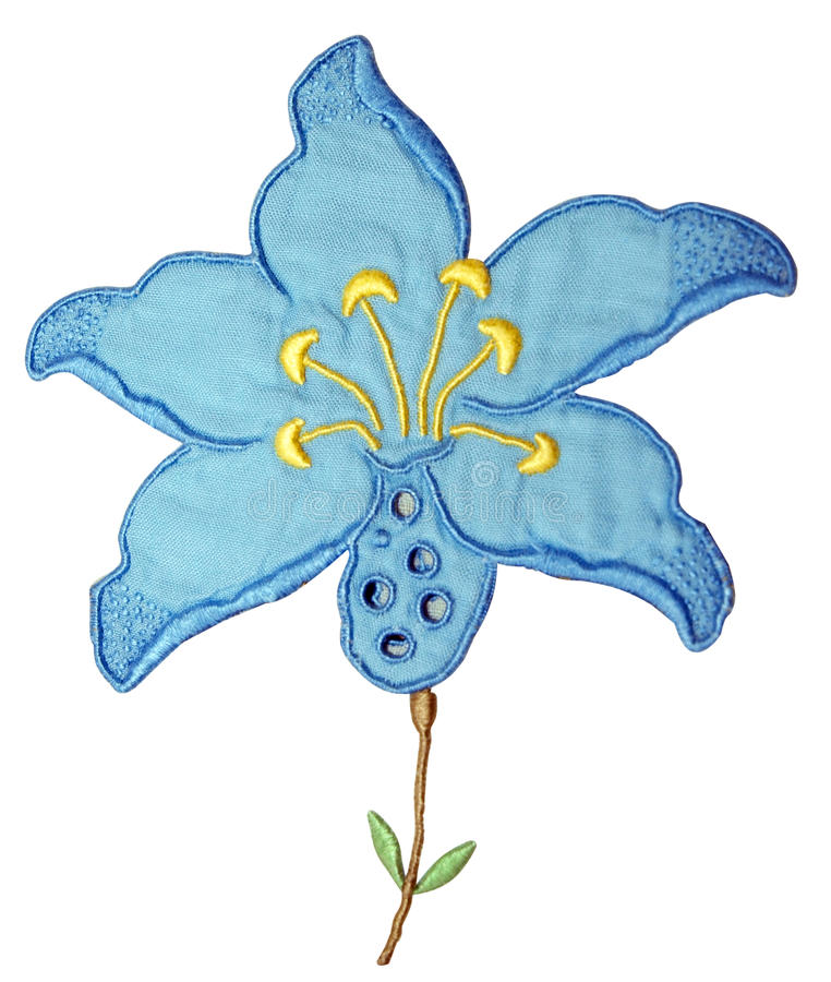 Blue embroidery flower stock image of design