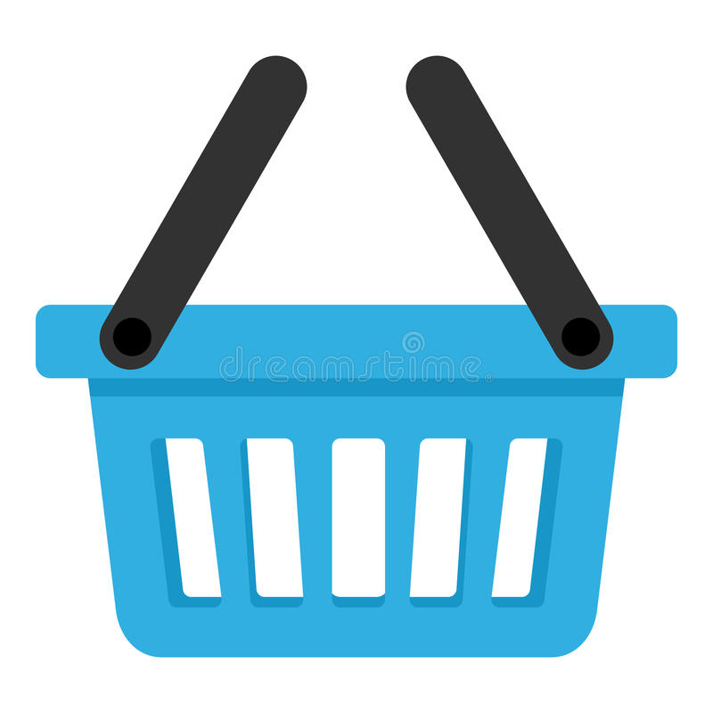 Blue Empty Basket with Two Handles Icon vector illustration