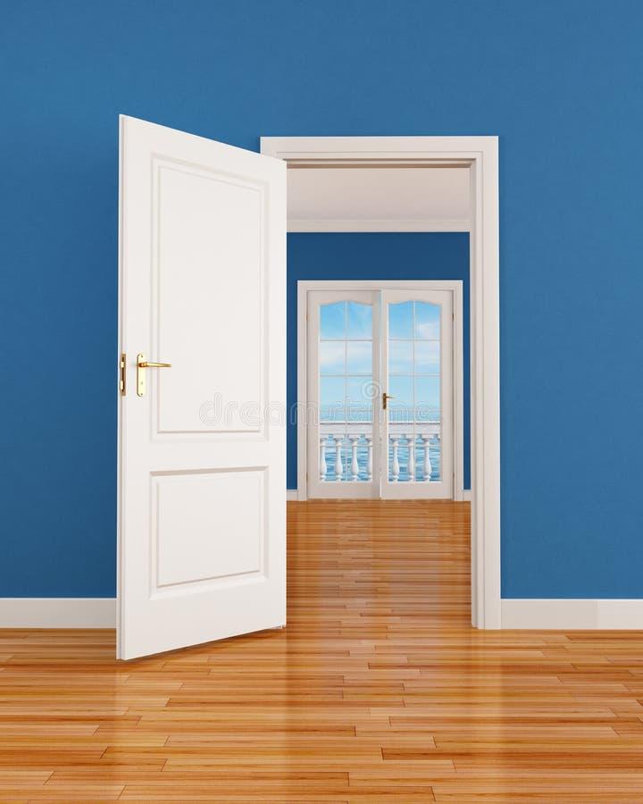 Blue empty interior vector illustration