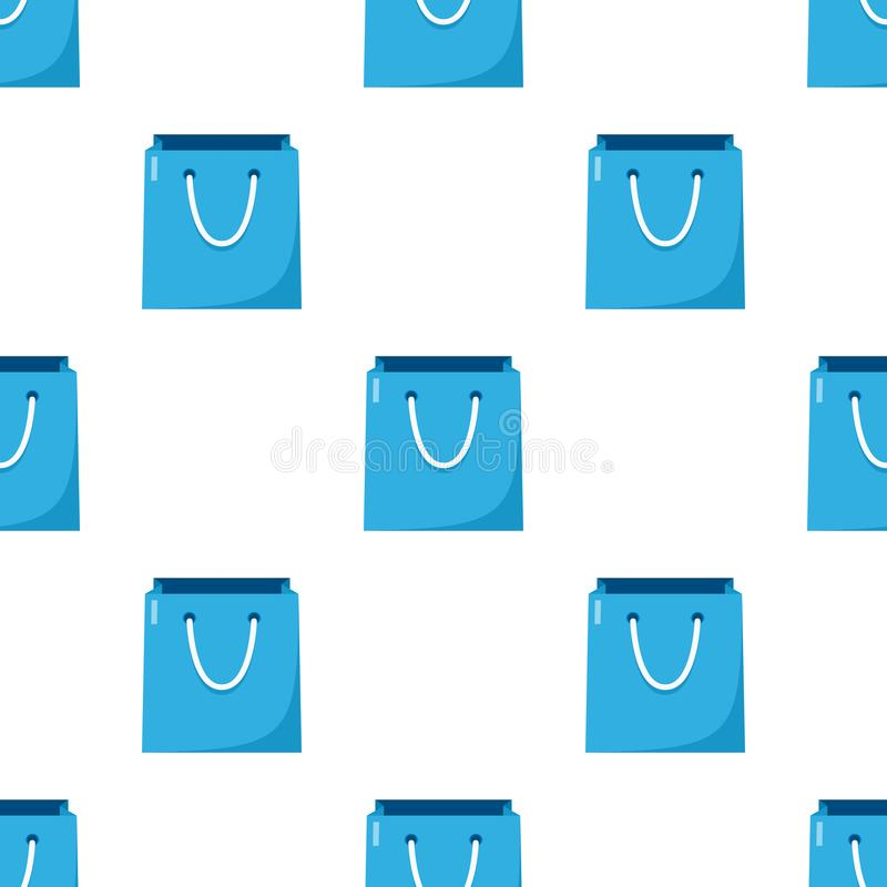 Blue Empty Shopping Bag Seamless Pattern stock illustration