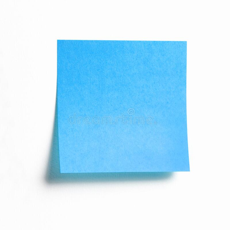 Blue empty sticky note isolated on white background royalty free stock photo