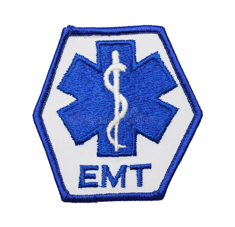 Blue EMT Patch. Medical EMT Uniform Patch Isolated on a White Background royalty free stock images