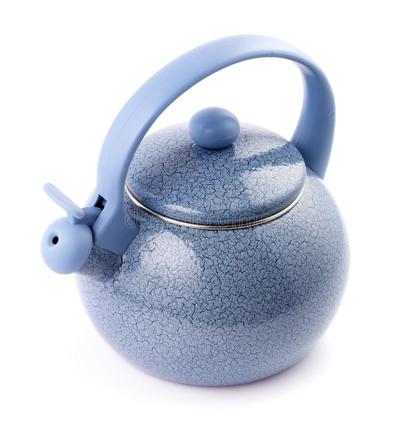 Blue enamel kettle isolated on white above. Blue enamel kettle isolated on white background above view stock photography