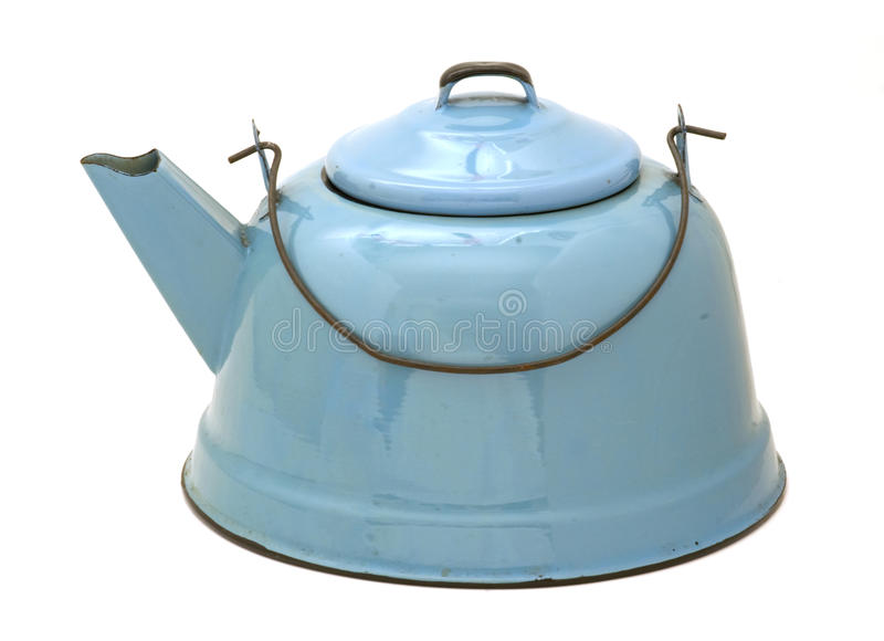 Blue enamel teakettle isolated. Vintage blue granite teakettle isolated stock images