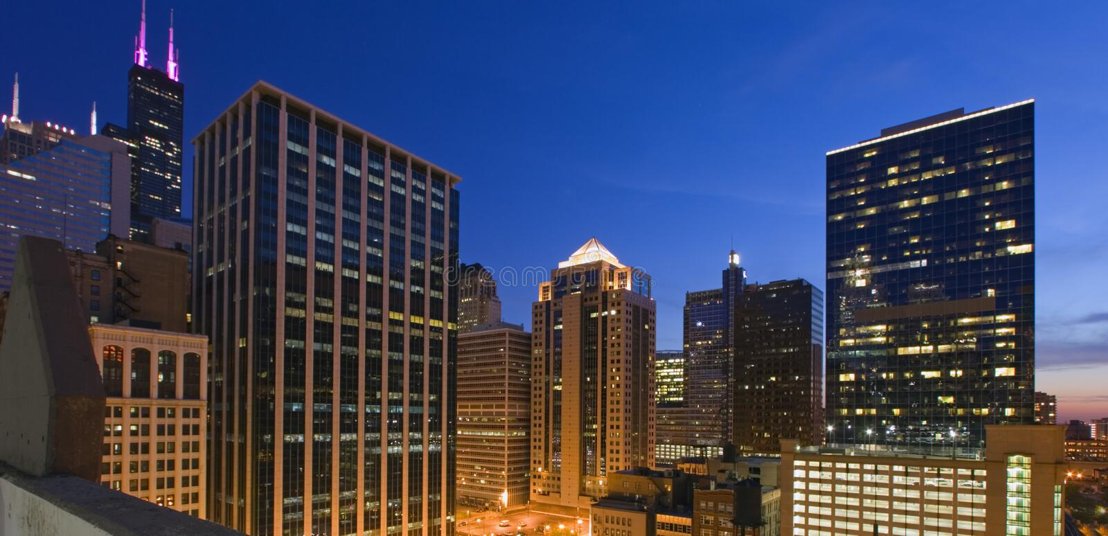 Blue End of a Day in Chicago. royalty free stock photos