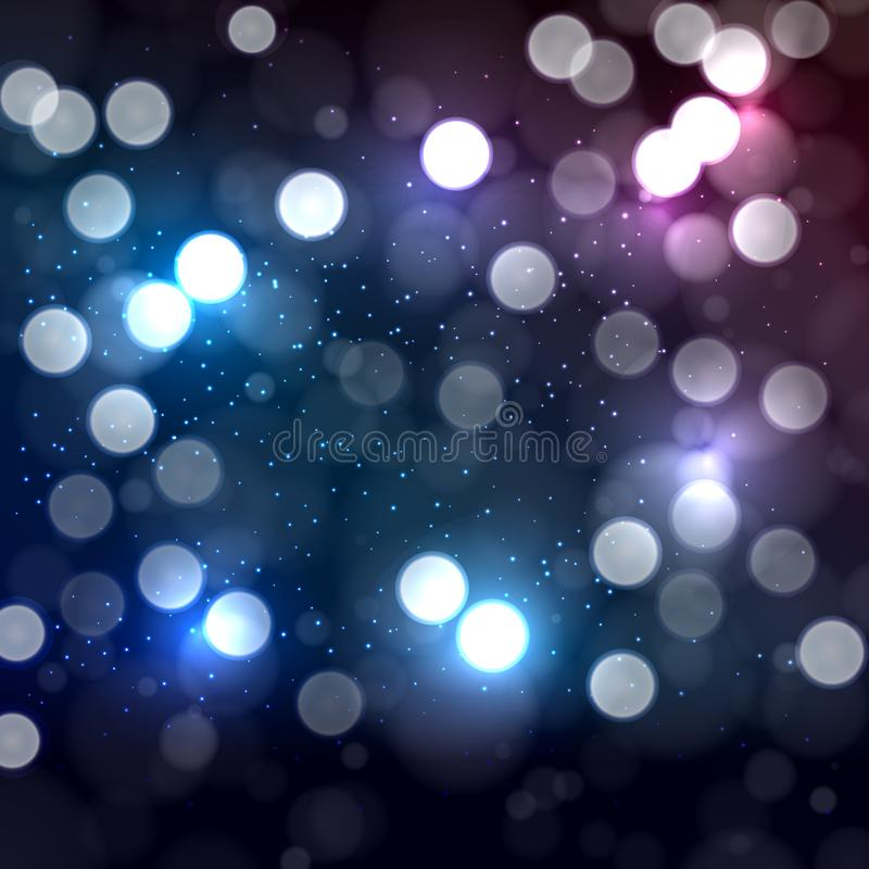 Blue end pink abstract background with bokeh defocused lights. Vector illustration royalty free illustration