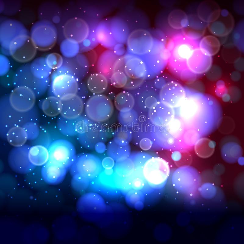 Blue end pink abstract background with bokeh defocused lights. Vector illustration stock illustration